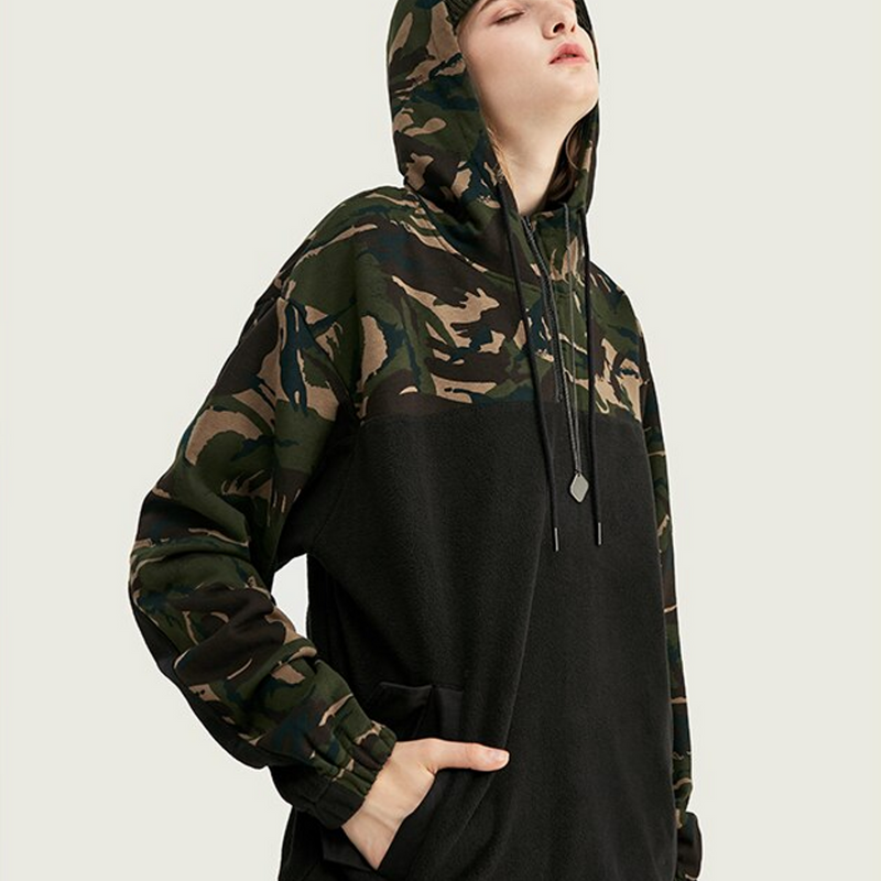 Polar Fleece Men Camo Hoodies 2019 Men Hip Hop Drawstring Patchwork Men Hoodies Camo Polar Fleece Male Hoodies 9661W