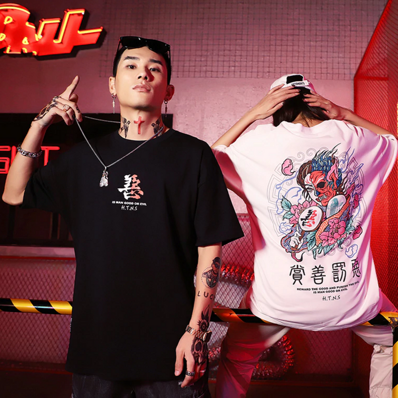 Japanese Evil Printed Short Sleeve Men Summer Streetwear Casual Tees T Shirts Harajuku Hip Hop Male Fashion Tshirts Top