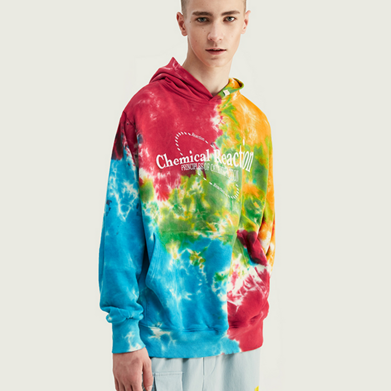 Hip Hop Men Hoodie In Tie Dye Men Winter Hoodies Cotton Men Loose Fit Hoodie Mens Streetwear Oversized Hoodies 9643W