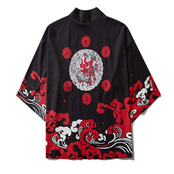 GONTHWID Japanese Devil Print Kimono Cardigan Shirts Casual Open Front Coats Streetwear Harajuku Hip Hop Jackets Summer Tops Men