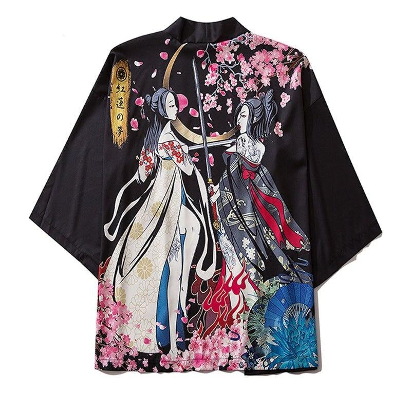 GONTHWID Japanese Girls Cherry Blossoms Print Kimono Cardigan Jackets Streetwear Hip Hop Casual Open Front Coats Shirts Tops Men