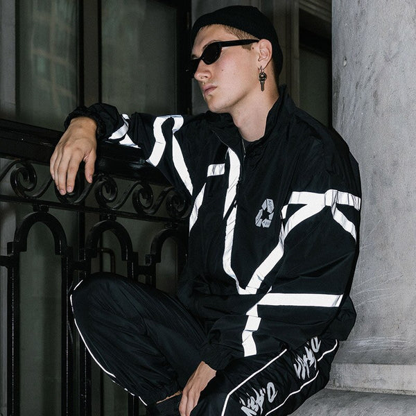 Men's Hip Hop Jacket Windproof Reflective 3m Harajuku Streetwear Retro Jacket Coat Hooded Jacket Tracksuit Black Casual Fall 2019