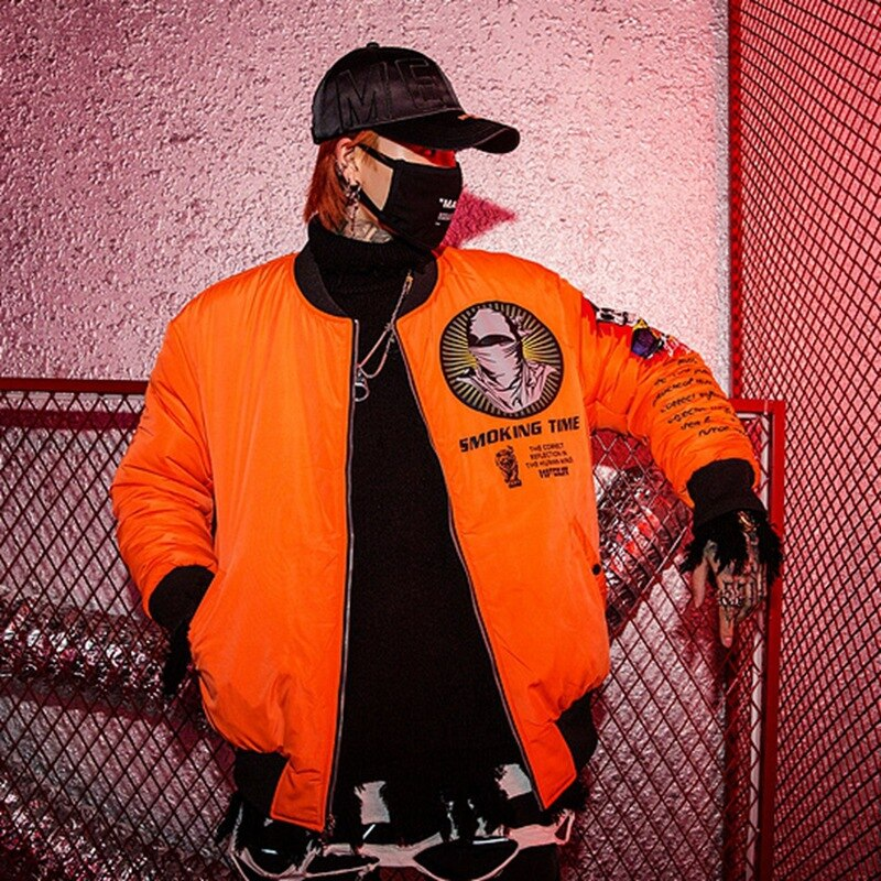 2019 Hip Hiop Two Sides Bomber Parkas Jacket Men Streetwear Baseball Coat M Print Autumn Winter Outerwear Male Orange HZ245