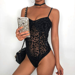 Darlingaga Hot Sale Strap Leopard Mesh Bodysuit Sexy Fashion Transparent Female Body Bodycon Jumpsuit See Through Bodysuits 2020