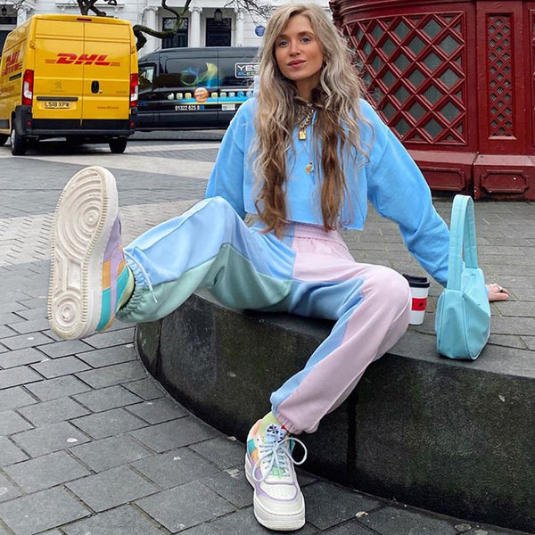 Vintage sweatpants women punk joggers women sweat pants streetwear baggy pants pink colorful pants hip hop korean style