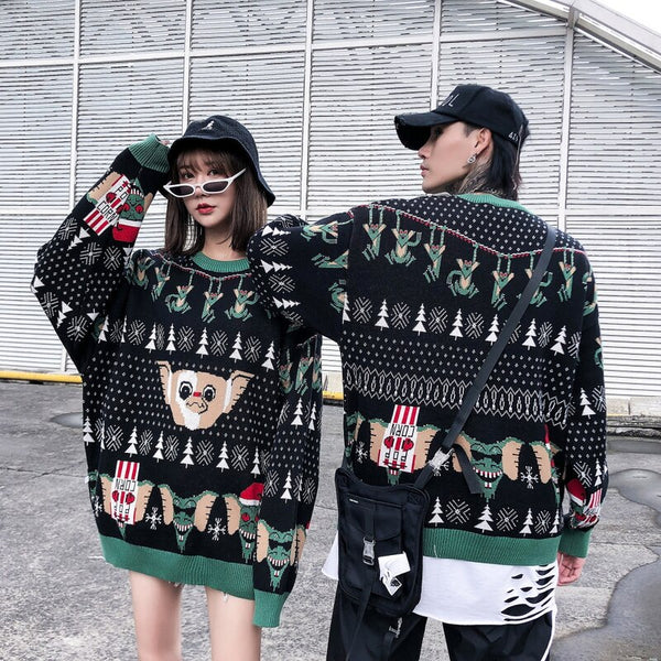 Sweaters Men animal Print Mens Pullover Harajuku O-neck Male Sweaters College Style Knitted AutumnWinter Couple Sweaters