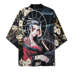 GONTHWID Japanese Tattoo Girl Flowers Print Kimono Cardigan Jackets Streetwear Harajuku Hip Hop Casual Front Open Shirts Coats