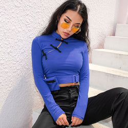 Sweetown Long Sleeve Crop Top T Shirt Women Belt Chinese Style Camiseta Mujer Autumn Winter 2018 Vintage Korean Tshirt