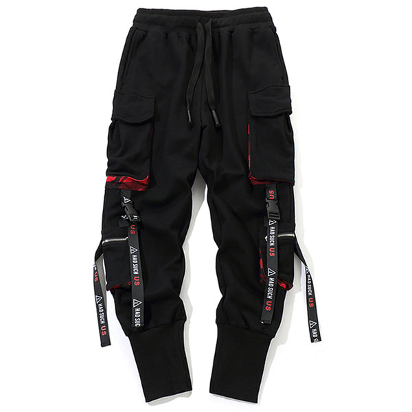 Black goth streetwear harem cargo pants military-styled