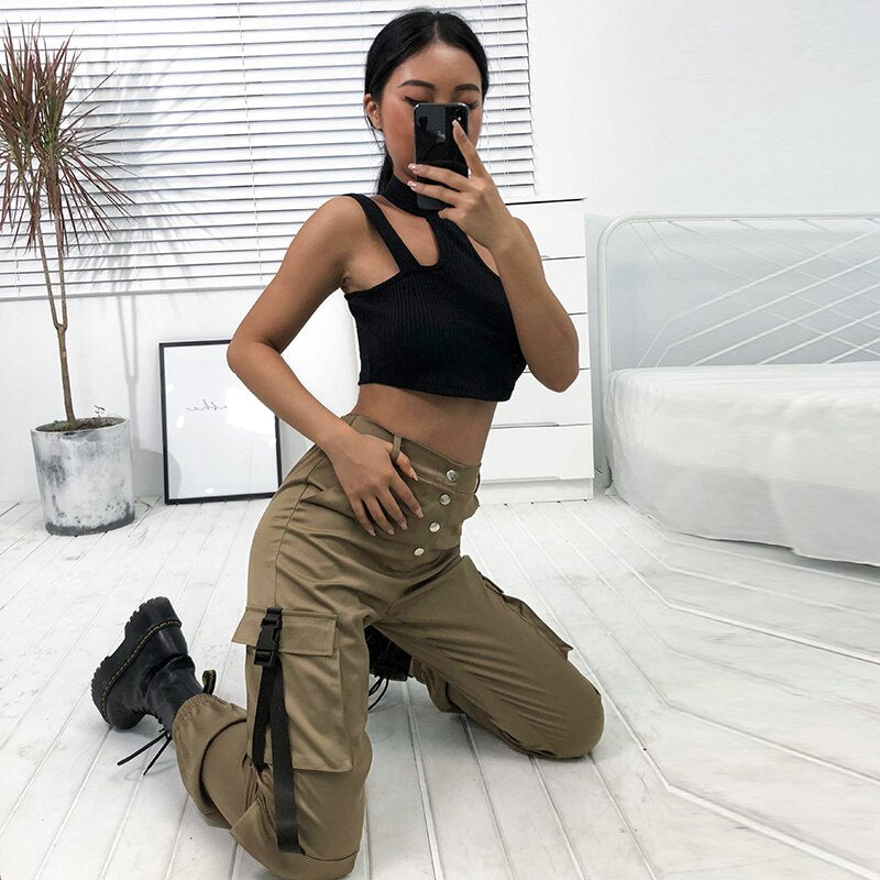 Sweetown Streetwear Cargo Pants Women Pockets Patchwork High Waist Trousers Pantalon Mujer Street Style Full Length Winter Pants