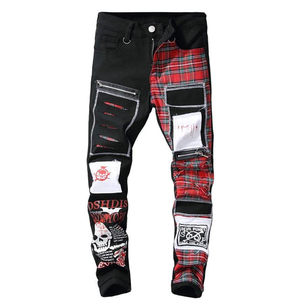 Men's skull printed Scottish plaid patchwork jeans Trendy patches design black ripped distressed denim long pants