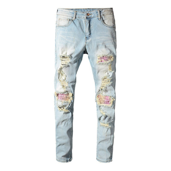 Men's patchwork bandanna paisley printed biker jeans Light blue holes ripped skinny stretch denim pants Trousers