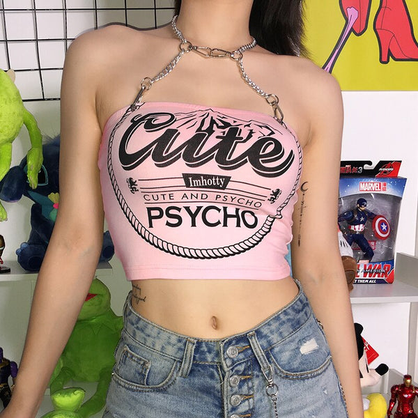 Sweetown Punk Gothic Metal Chain Halter Tank Top Female Pink Letter Printed Cute Crop Top Shirt Hot Summer Holiday Streetwear