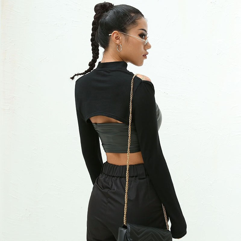Cut Out Long Sleeve Crop Top