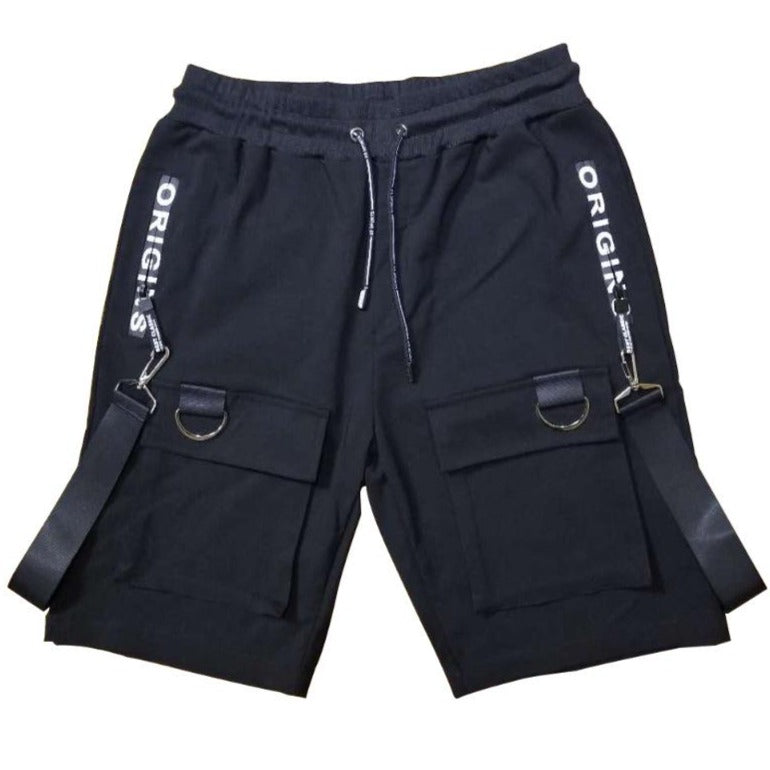 Unique black short with detachable strap design