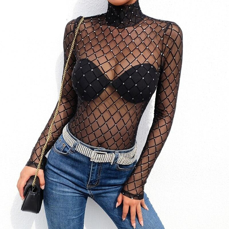 Darlingaga Hot sale black Diamond mesh bodysuit sexy body for women turtleneck long sleeve transparent bodysuits tops jumpsuits