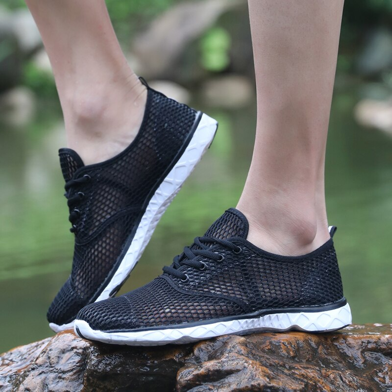 Summer Breathable Men Casual Shoes Lightweight Cushion Walking Shoes Men Outdoor Water Shoes Zapatillas Mujer Sapato Big Size 46