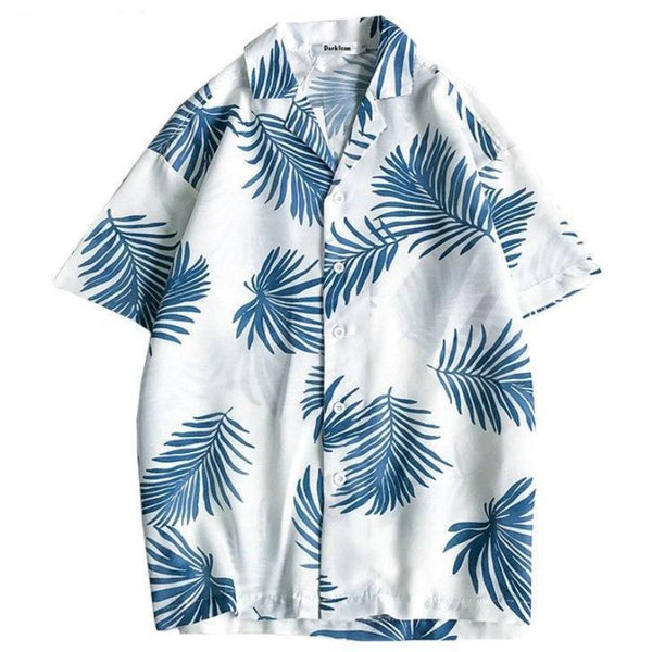 White tropical hawaiian shirt with green palm leaves