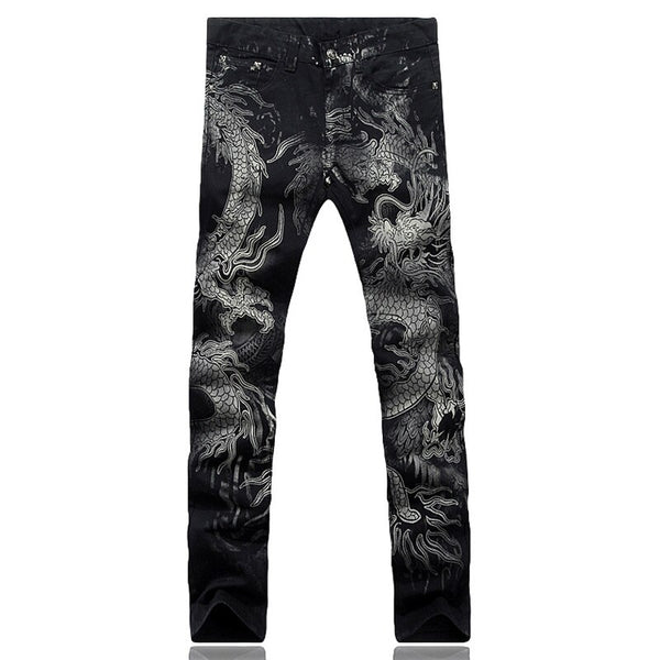 Men's fashion dragon print jeans Male colored drawing painted slim denim pants Elastic black long trousers