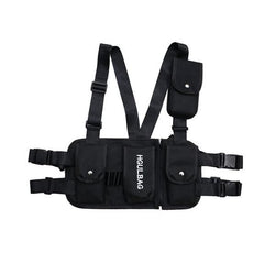 Black tactical chest bag multi-pocket