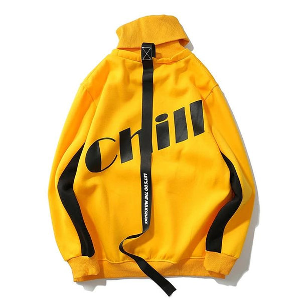 Autumn Winter Sweatshirts Pullover Men Warm Turtleneck Streetwear Yellow Hip Hop Fleece Coat Letter Print Hoodies WS149