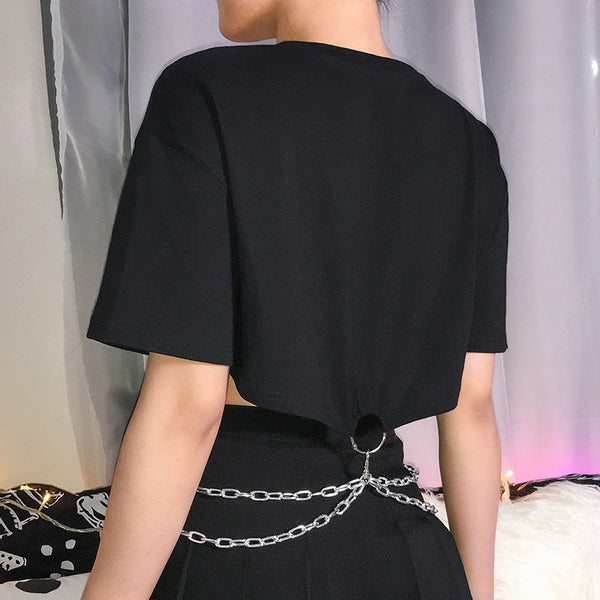 Metal Chain Cropped Tee
