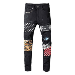 Men's rivets stars printed patchwork black jeans Trendy streetwear slim fit stretch denim pencil pants Ripped trousers
