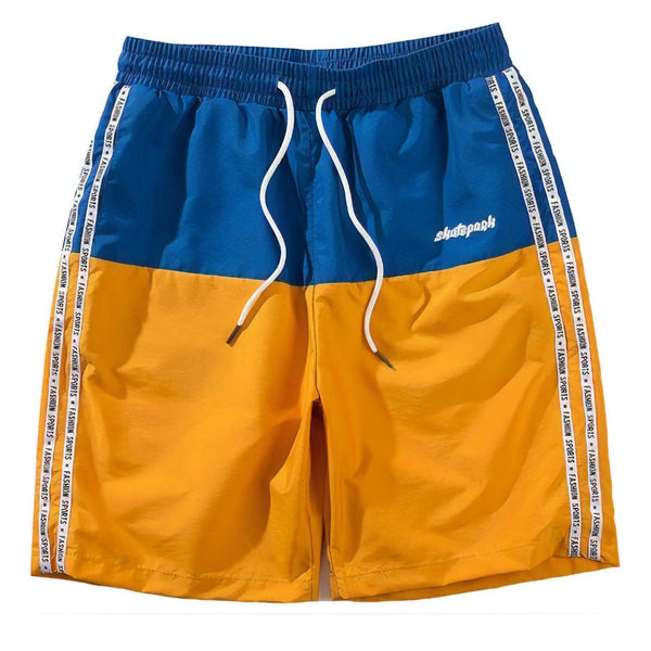 orange and blue pair of sports shorts for the summer