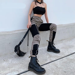 Sweetown Two Color Patchwork Hip Hop Harem Pants Women Hollow Out Gothic Streetwear Cargo Pants Elastic High Waist Trousers