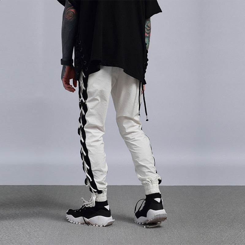 Harajuku Pant Joggers Streetwear Ribbon Men Hip Hip Lace Up Sweatpant Fashion Casual Track Pant Sweat Trousers Black Whit