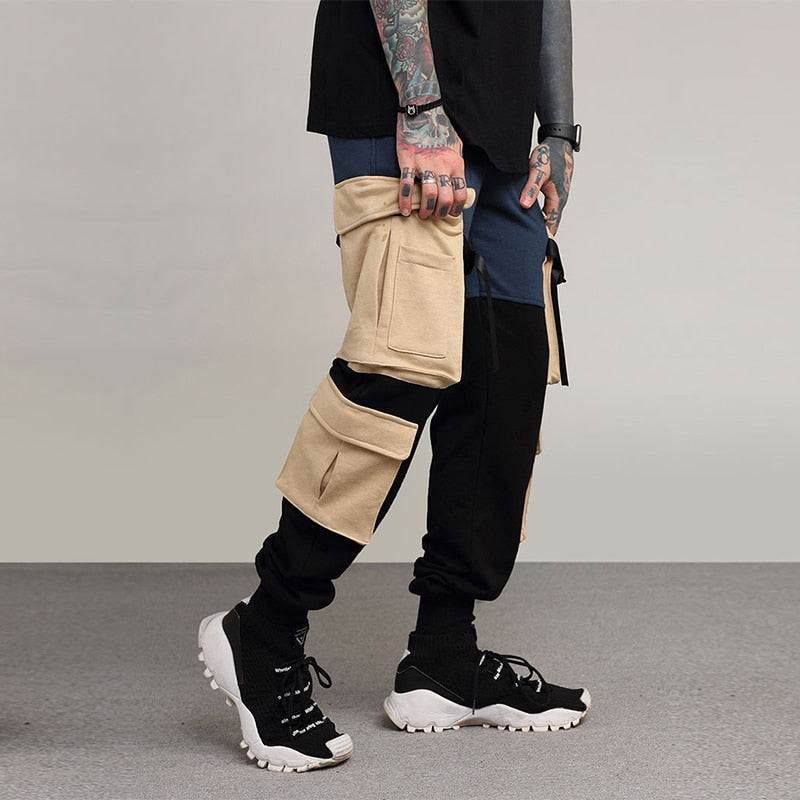 Hip Hop Mens Joggers Pant Sweatpant Streetwear Fashion Casual Splicing and Color ninja bandage Track Pants Sweat Trouser Modis