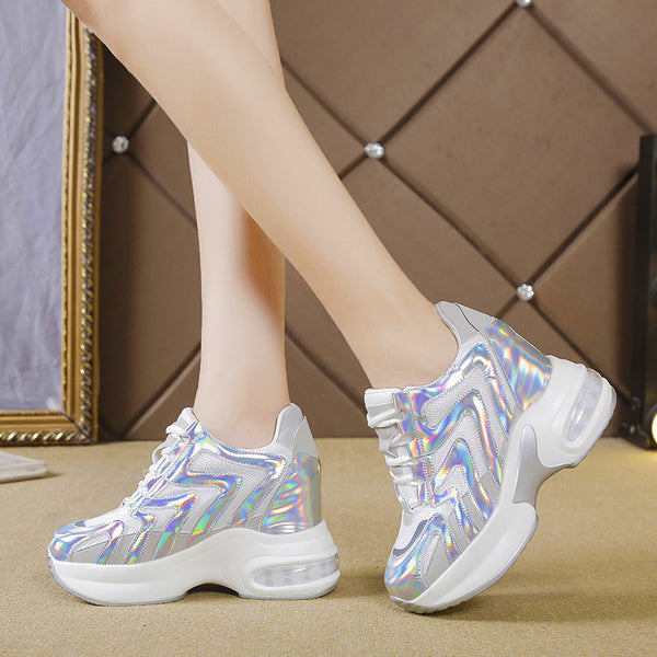 Silver Laser Sneakers