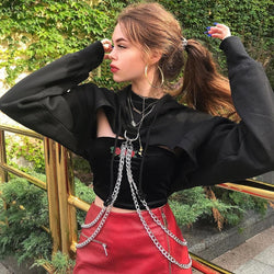 SUCHCUTE Punk Hoodies Kpop Sweatshirts Women Gothic Summer 2019 Metal Chain Hip Hop Harajuku Hoodie Sweatshirt Clothes Moletom