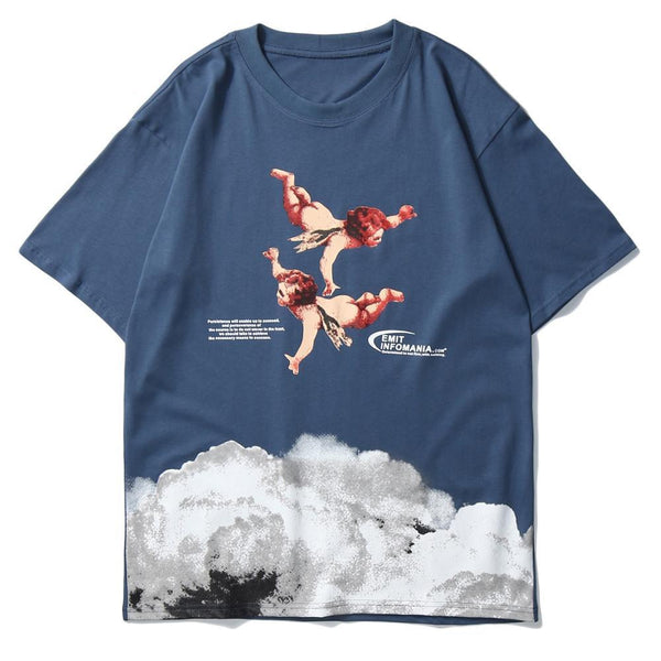 Aelfric Eden Angel Print Harajuku T Shirt Mens Japanese Streetwear Hip Hop T Shirts 2020 Summer Cotton Loose Short Sleeve Tops