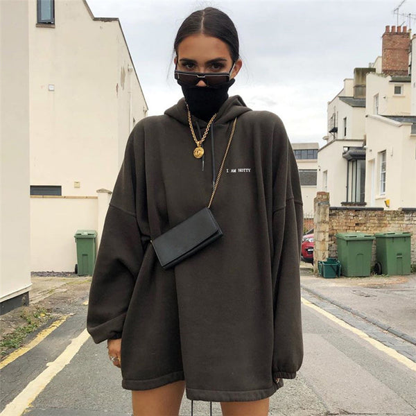 2019 Winter Women Street Fashion Letter Embroidery Oversized Casual Hooded Hoodies Long Sleeve Loose Casual Thick Pullovers