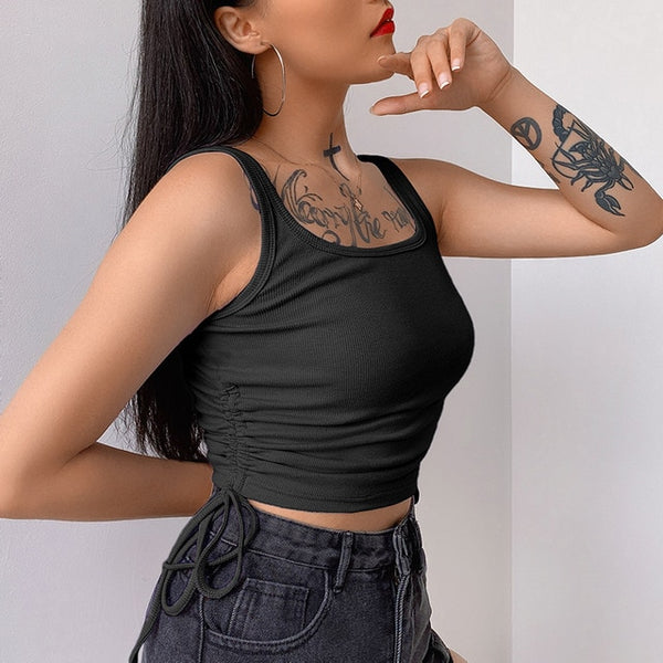 Rockmore Pleated Tank Top Women Drawstring Vintage Crop Tops Skinny Fitness Casual Streetwear Shirts Summer Vest Femme Camis
