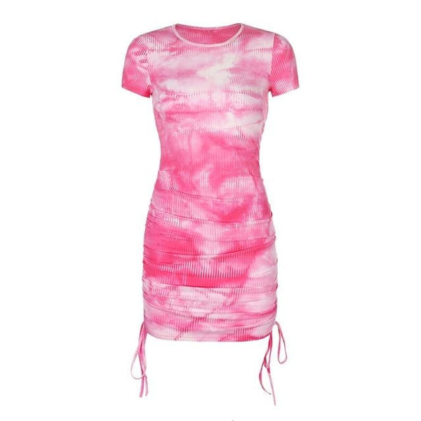 Skye Ruched Tie Dye Mini Dress