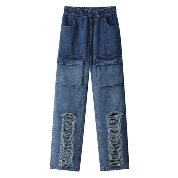 Abstract Mess Denim Pants