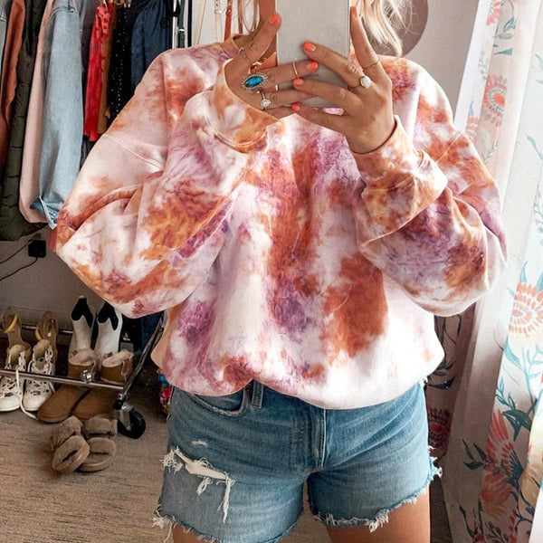 Rockmore Tie Dye Tie Dye Hoodie Sweatshirt For Women Long Sleeve Sweat Oversize Streeetwear Top Casual Autumn Winter Sweatshirts