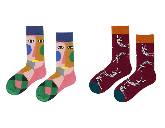 Colorblock Print Socks