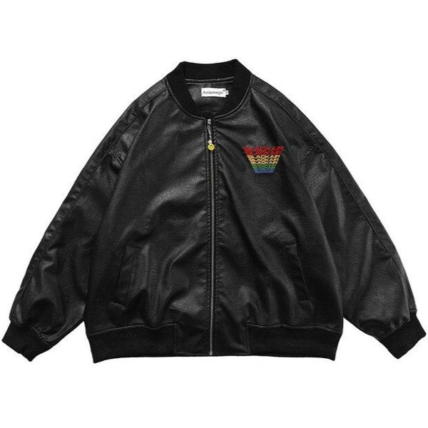Faux Leather Black Air Bomber Jacket
