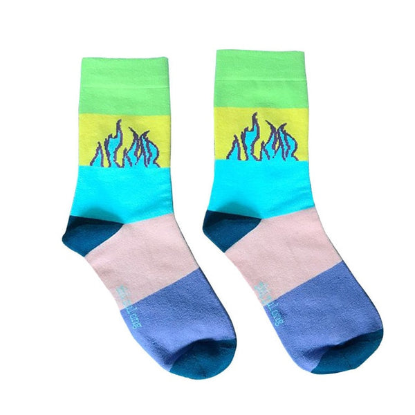 Colorblock Flame Socks