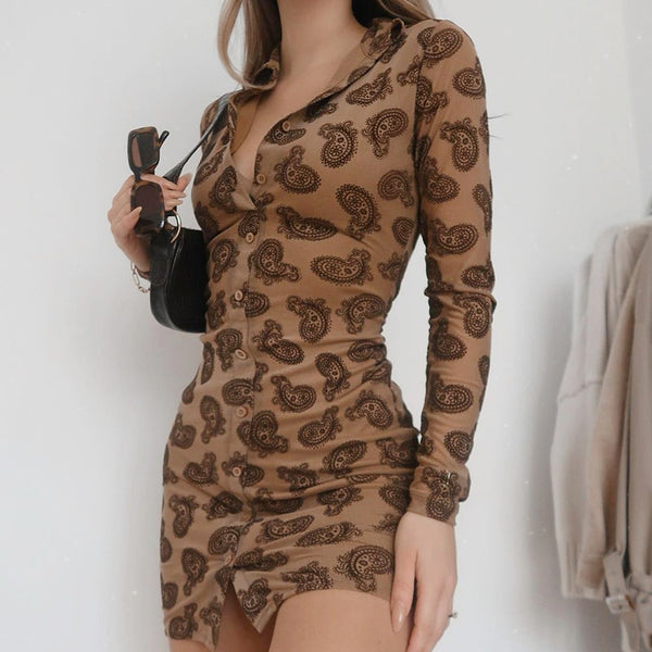 Brown Paisley Dress