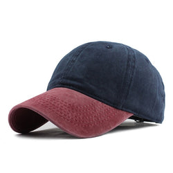 Red and blue strapback hat for this winter.