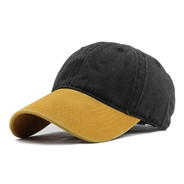 Yellow and black strapback hat for this winter.