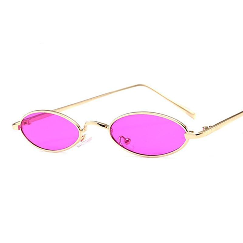 Retro 90s oval small sunglasses with metal frame gold and pink lens