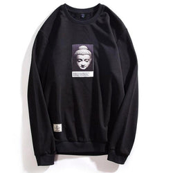 Black o-neck buddha sweatshirt