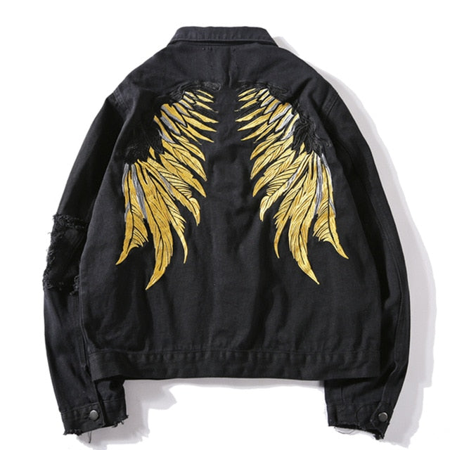 Black riped jeans jacket with embroided wings. Yukio's denim vest