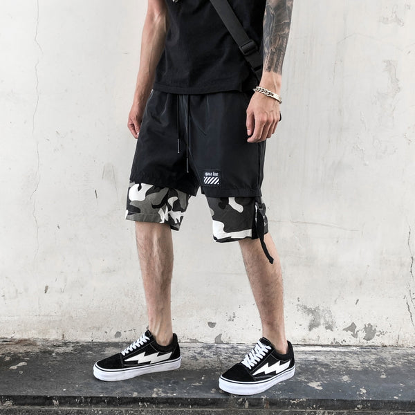 Black and white camo streetwear short for tactical and korean street style