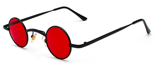 Round red lens black frame sunglasses